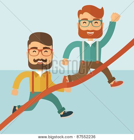 A happy two hipster Caucasian men with beard running to the finish line for meeting the deadline.