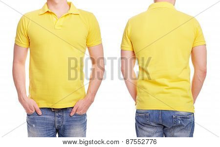 Young Man With Yellow Polo Shirt On A White Background