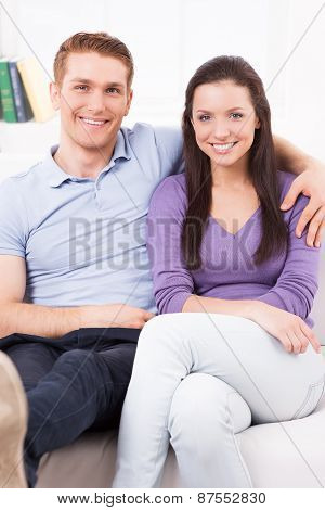 Happy Loving Couple At Home.