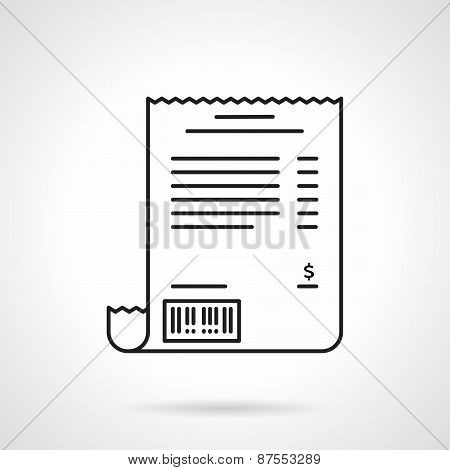 Receipt black line vector icon