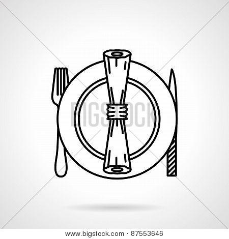 Table set black line vector icon