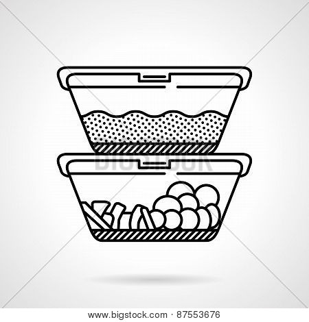 Lunch boxes black line vector icon