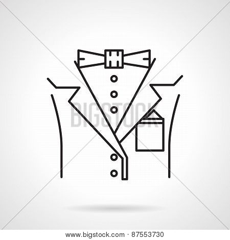 Black line vector icon for male suit