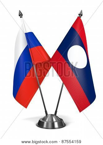 Russia and Laos - Miniature Flags.