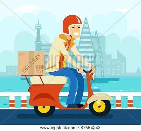 Courier Delivery on Scooter Symbol Icon Concept City Sky Background Flat Design Vector Illustration