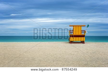 Colorful Life Guard house on the beach.