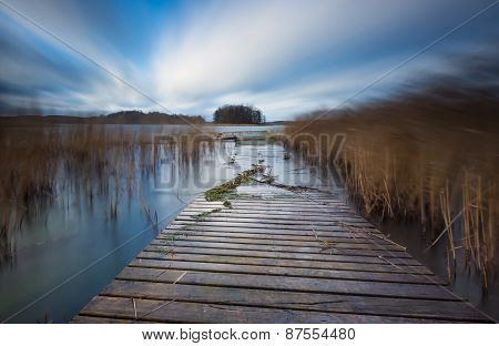 Lake With Jetty. Long Exposure Landscape...
