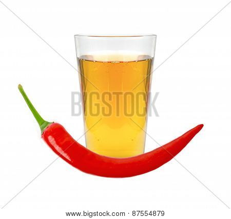 Glass Of Pepper Vodka And Red Chili Pepper Isolated On White