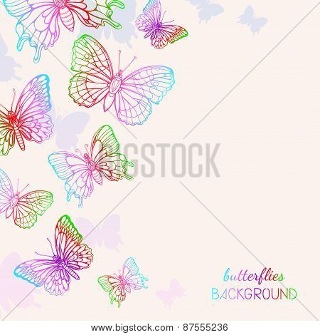 Colorful Butterflies Background