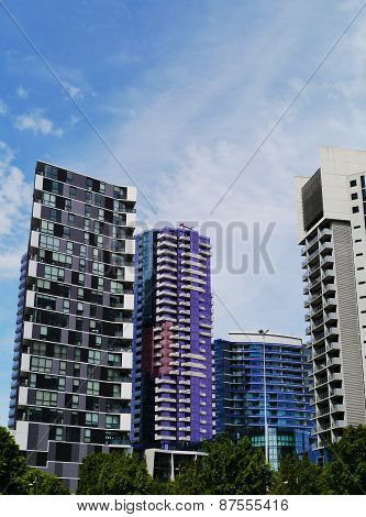 Colorful skyscrapers in Melbourne