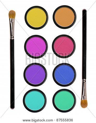 Colorful Eyeshadows In Black Boxes And Two Brushes Isolated On White