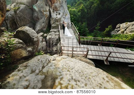 Wedding Couple On The Background Of Mountain Sun