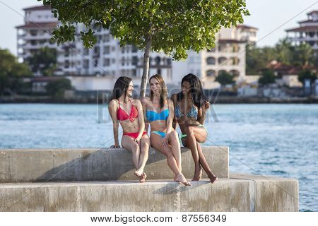 Three women sitting in marina harbor.