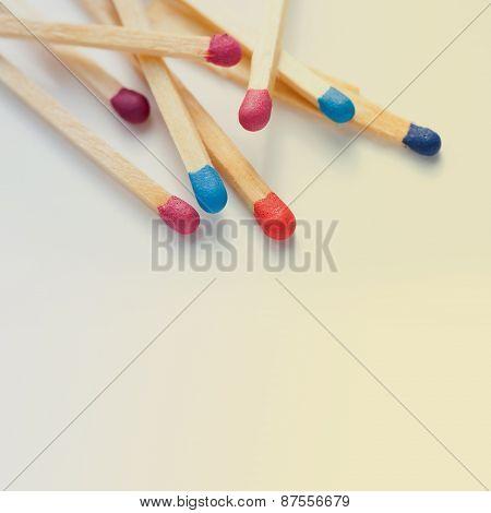 Colorful Matches Closeup