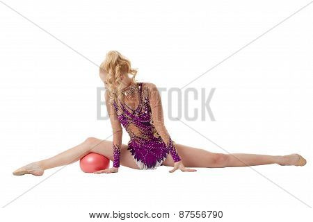 Artistic gymnastics performance with ball