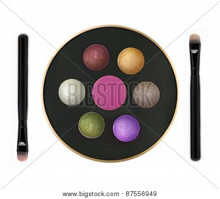 Multicolor Eyeshadows In Round Box And Brushes Isolated On White