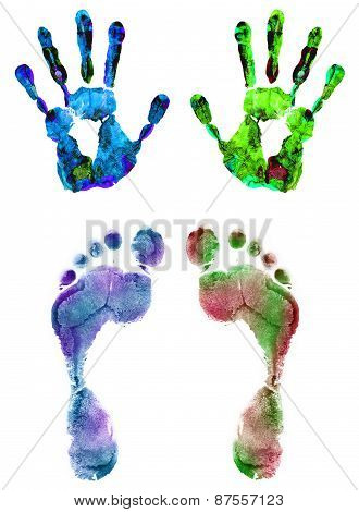 Color Hand And Foot Prints Isolated On White