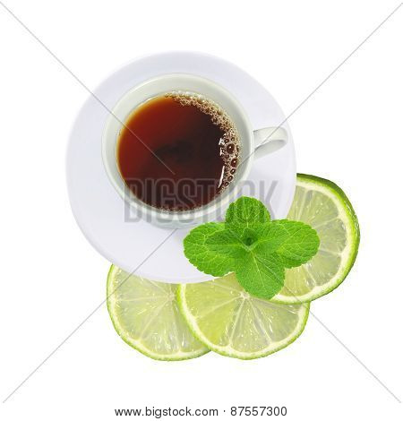 Cup Of Tea With Mint And Fresh Lime (lemon) Slices Isolated On White