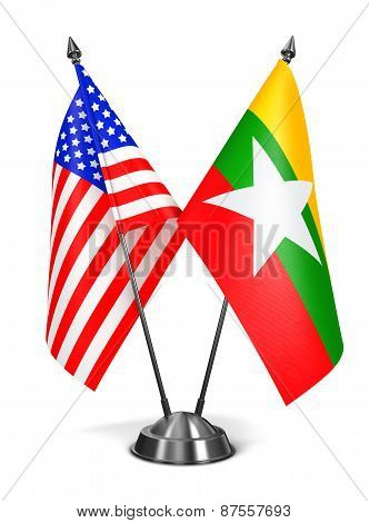 USA and Myanmar - Miniature Flags.