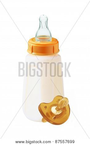 Baby Milk Bottle And Dummy Isolated On White