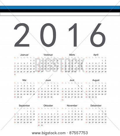 Square Estonian 2016 Year Vector Calendar