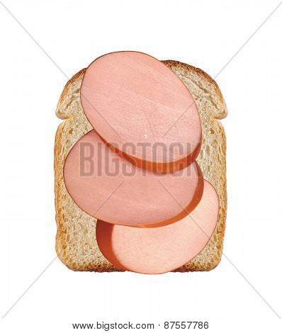 One Slice Of Wheat Bread And Slices Of Sausage Isolated On White