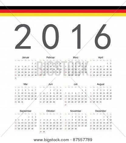 Square German 2016 Year Vector Calendar