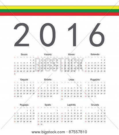 Square Lithuanian 2016 Year Vector Calendar