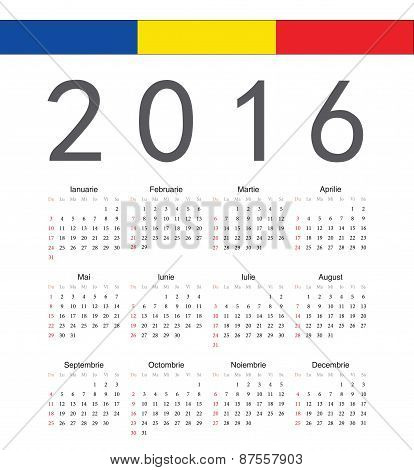 Square Romanian 2016 Year Vector Calendar