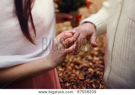 Ride Exchanged Rings In The Forest At Wedding Ceremony
