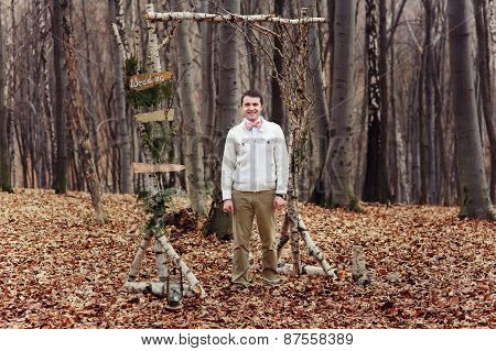 Groom Waiting Bride In Tge Forest. Wedding Ceremony