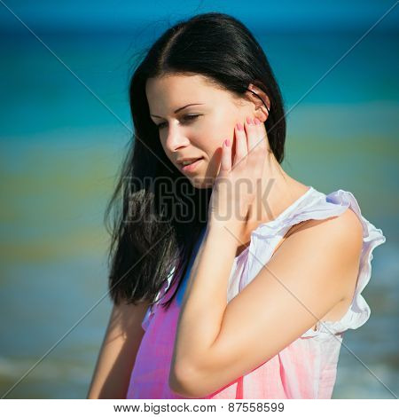 Happy Woman Rest On A Beach