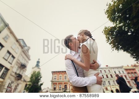 Couple Walk In Old Town Lviv,kissing,loving