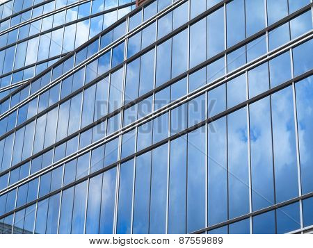 Abstract Blue Glass Facade Modern Business Center Building