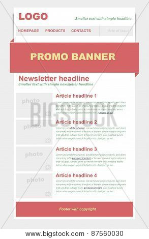 Newsletter Template With Red Color