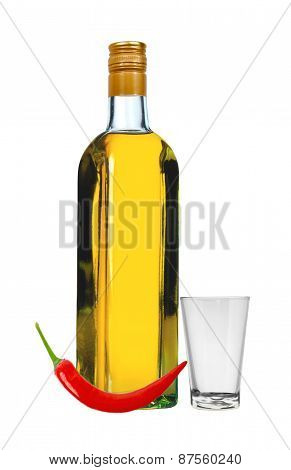Bottle Of Vodka With Red Pepper And Glass Isolated On White