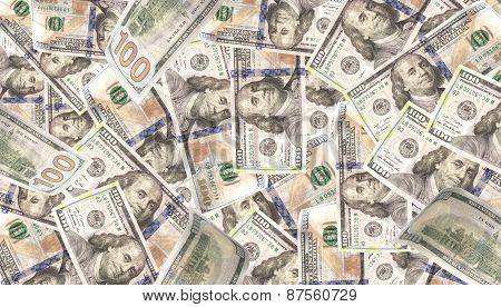 Background With Money American Hundred Dollar Bills - Stock Image