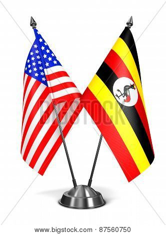 USA and Uganda - Miniature Flags.