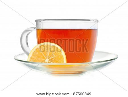 Glass Cup Tea With Lemon Slice Isolated On A White Background