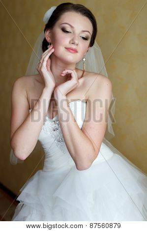 Morning Portrait Of The Bautiful Bride In Dress