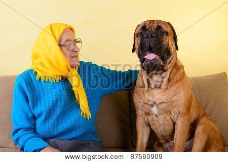 Senior Woman With Big Dog