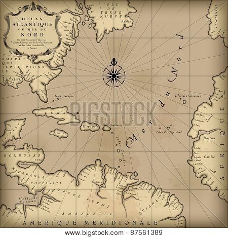 Old geographic map of Atlantic ocean region lands in a free interpretation with text. Vintage chart background. Vector Illustration