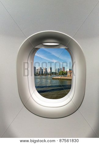 Looking Out The Window Of A Plane To The Rotterdam