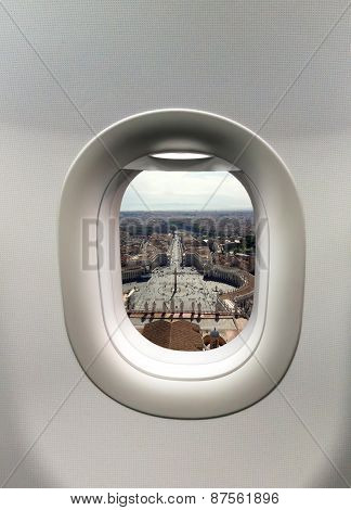 Looking Out The Window Of A Plane To The St. Peter's Square In V