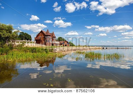 Modern House On The Lake In Summer Sunny Day In Novgorod Region, Russia