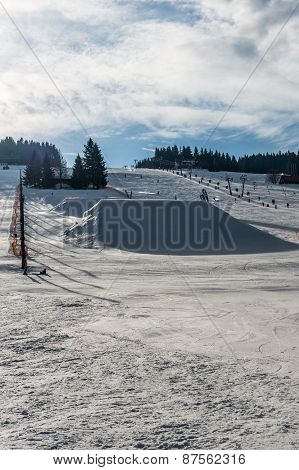 Snowy Ski Slope In The Czech Republic