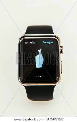 Apple Watch with luck luky emoji on display