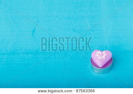 Pink Candle In The Shape Of Heart
