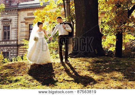 Wedding Couple Sitting Under A Large Tree