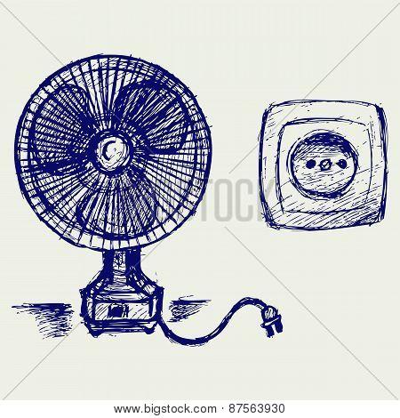 Electric fan and socket